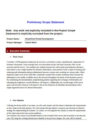 Project Preliminary Scope Statement