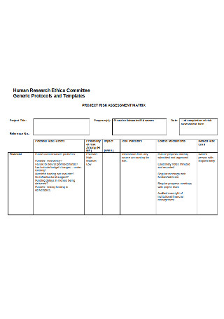Project Risk Assessment Matrix