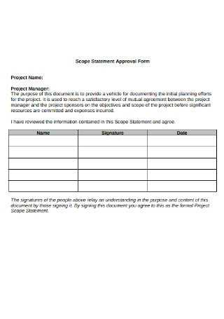 Project Scope Statement Approval Form