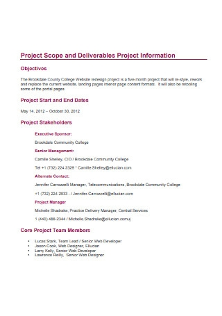 Project Scope Statement Web and Portal Redesign