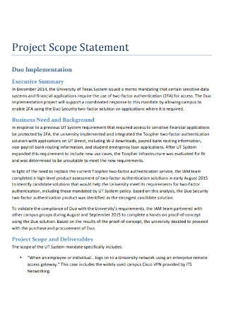 Project Scope Statement and Deliverables