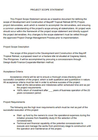 Project Scope Statement and Description