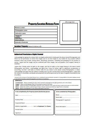 Property Location Release Form Sample