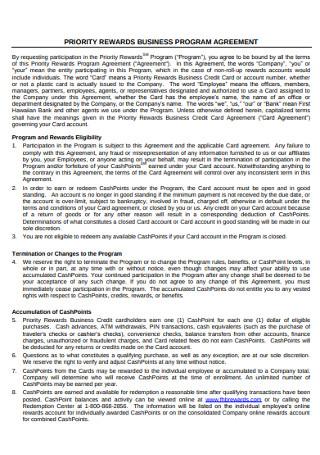 Property Rewards Business Program Agreement