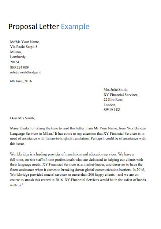 Proposal Letter Example