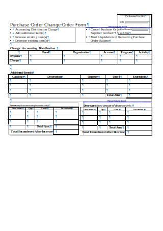 Purchase Order Change Order Form