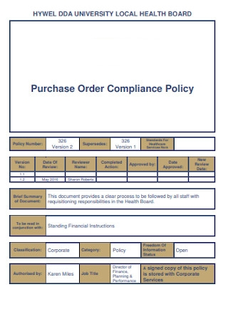Purchase Order Compliance Policy