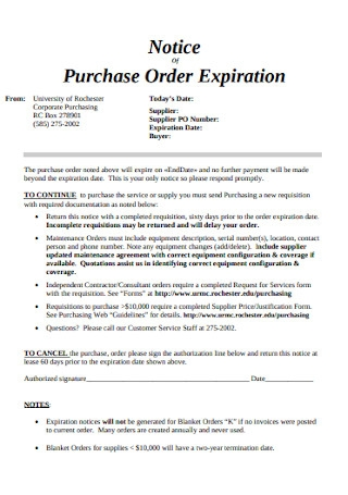 Purchase Order Expiration Notice