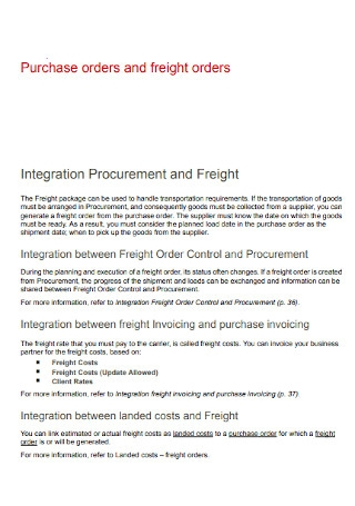 Purchase Order and Freight Orders