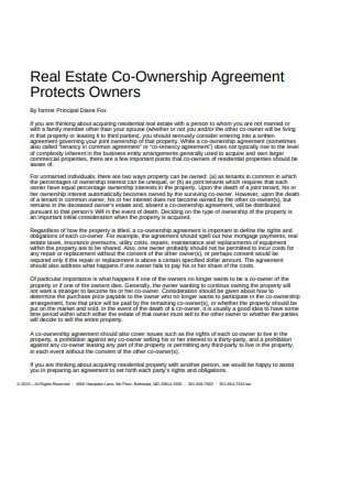 Real Estate Co Ownership Agreement