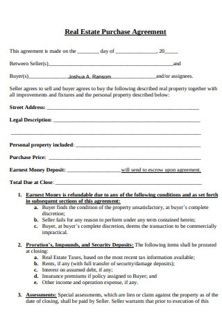 Real Estate Purchase Agreement Sample