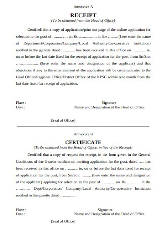Receipt and Certificate Template
