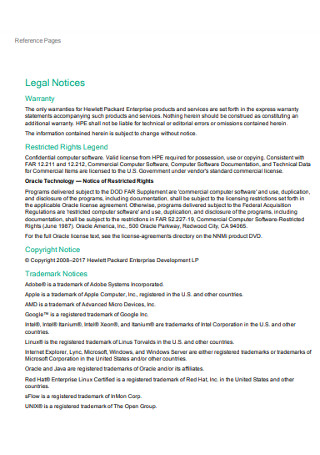 Reference Legal Notices Pages