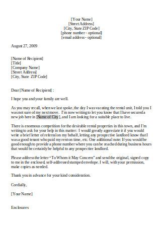 Referral Letter from Former Landlord