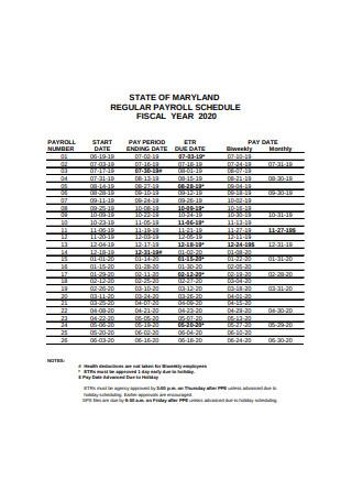 Regular Payroll Schedule