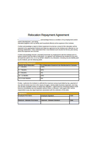 Relocation Repayment Agreement Format