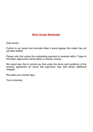 Rent Arrear Reminder Letter