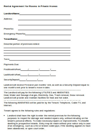 Rental Agreement for Room in Private
