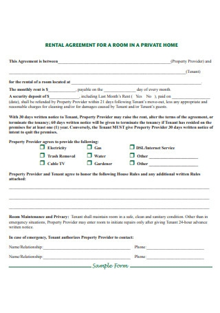 Rental Agreement for a Room in Private Home