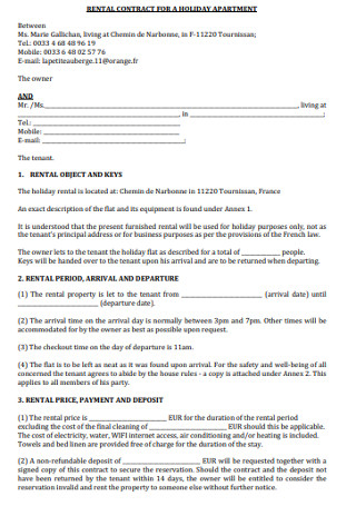 Rental Contract for Holiday Apartment