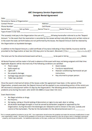 Rental Hall Agreement for Emergency Service
