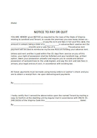 Rentals Notice to Quit