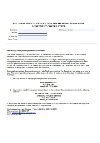 Repayment Agreement Cover Letter