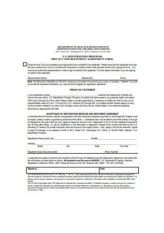 Repayment Agreement Form
