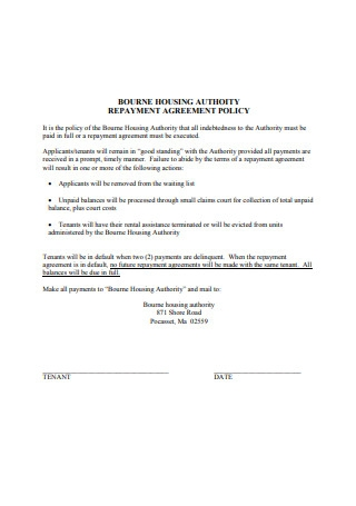 Repayment Agreement Policy Example