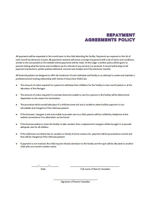 Repayment Agreement Policy