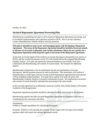 Repayment Agreement Processing Plan