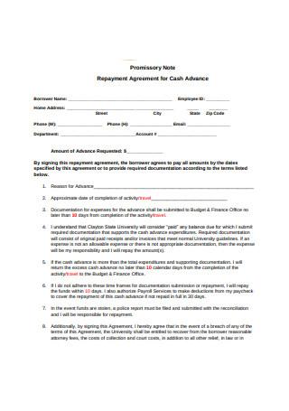 Repayment Agreement for Cash Advance