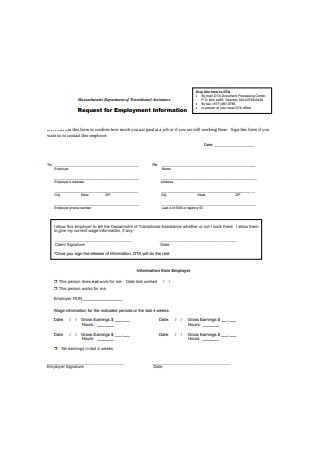 Request for Employment Information Form Sample