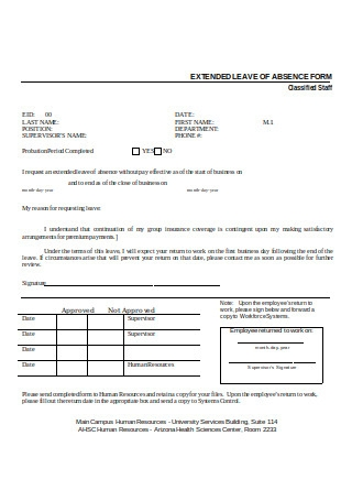Request for Extended Leave of Absence Form
