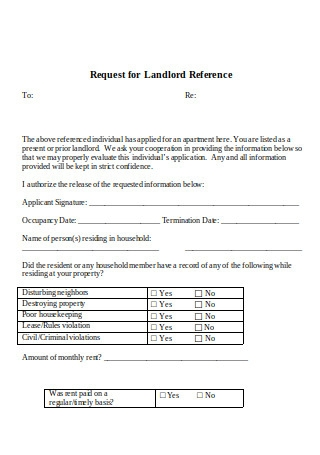 Request for Landlord Reference
