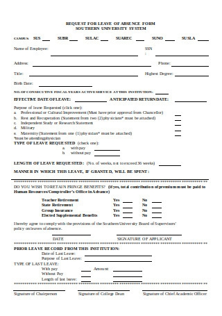 Request for Leave of Absence Form