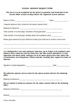 Request for Leave of Absence from School