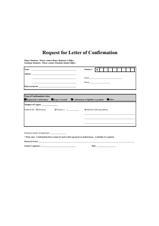 Request for Letter of Confirmation