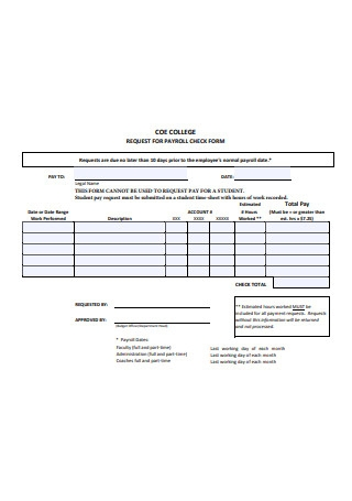 Request for Payroll Check Form