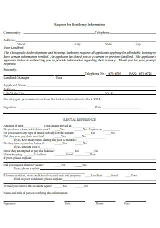 Request for Residency Information Form