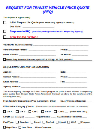 Request for Transist Vechicle Proice Quote Form
