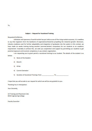 Request for Vocational Training Letter