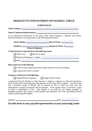 Request to Stop Payment on Payroll Check