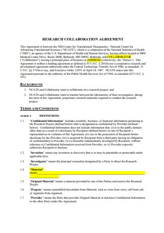Research Collaboration Agreement Sample
