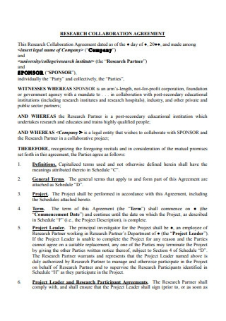 Research Collaboration Agreement