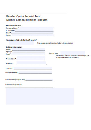 Reseller Quote Request Form