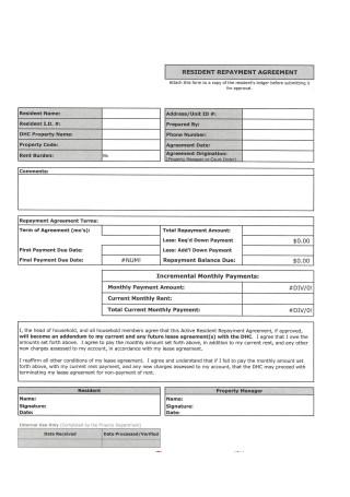 Resident Repayment Agreement