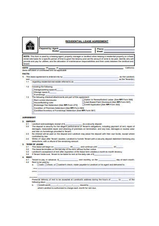 Residential Lease Agreement Example