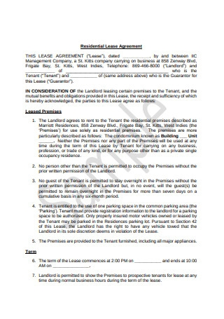 Residential Lease Agreement Sample