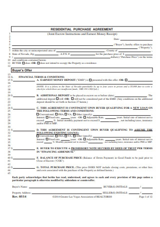 Residential Purchase Agreement Format